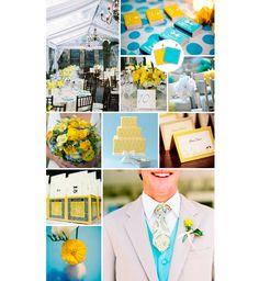 Decoração do casamento azul turquesa e amarelo