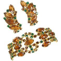 Vintage Shade of Autumn Rhinestone Bracelet & Earrings Set Ex Bracelet Set, Jewelry Bracelets, Vintage Fall, Fall Leaves, Autumn Inspiration, Artisan Jewelry, Clip On Earrings, Earring Set, Topaz