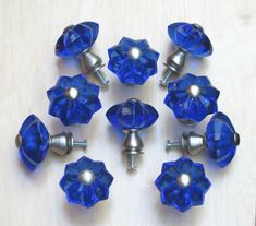 Cobalt Blue Star Glass and Satin Nickel Knobs (Set of 10)