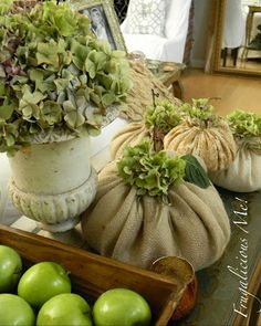 Fall burlap pumpkins.