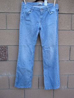 Levi's Blue Denim Jeans Womens 14 Long X 32 Low Rise Bootcut Red Tab Stretch #Levis #BootCut