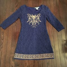 """Flying tomato blue crochet style dress size medium Cute dress in a darker royal blue - I purchased originally at a boutique in philly. Has a lace/crocket shell with a orangish/tannish cream embroidery - she'll is 60% cotton, 40% poly. Lined with polyester layer underneath. Arms are 3/4 length and unlined. From top hem to bottom is approx. 32"""". Please feel free to ask any other questions! Flying tomato Dresses"""