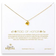 """M.O.H.   Dogeared Maid Of Honor 16"""" Gold Full Heart Necklace Jewelry 