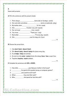 present simple test kids