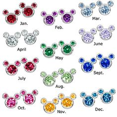 Birthstone Mickey Mouse Earrings - Except they don't have January at the moment ...