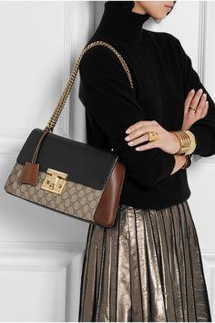 Gucci   Sac porté épaule en cuir et toile enduite Linea C   NET-A-PORTER.COM