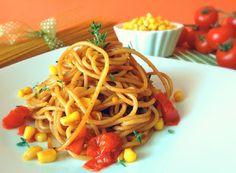 Cucinare che Passione: Spaghetti integrali con pomodorini, mais e salsa di soia