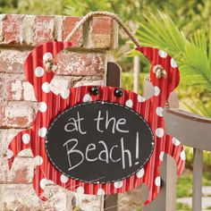 Crab Chalkboard. Nothing crabby about this crab. Chalkboard wall sign is hand-painted in a fun red with white polka dot design. List the lunch menu or let friends know you're at the beach.