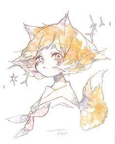 Anime Girl Neko, Anime Art Girl, Kawaii Anime, Pretty Drawings, Cool Drawings, Manga Watercolor, Human Art, Character Design Inspiration, Art Sketchbook