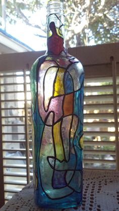Faux Stained Glass Hand Painted Glass by PattiesPassion on Etsy, $19.99