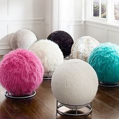 cute chairs from PBteen! maybe i could convince my dad to get me one... he uses a stability ball and says it helps your back.. but i'd like to relax while working on hw.