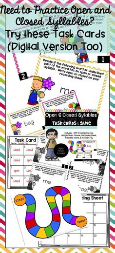Open and Closed Syllables Task Cards and Game (Digital Version Included) Reading Skills, Guided Reading, Teaching Reading, Teaching Ideas, Motivational Activities, Teaching Sight Words, Collective Nouns, Behavior Plans, Math Challenge