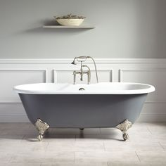 Sanford Cast Iron Clawfoot Light Gray Tub with Brushed Nickel Feet. The Light Gray exterior of the Sanford Cast Iron Clawfoot Tub brings a new look to classic bathroom styles. This tub includes a set of optional swiveling foot adjusters. Bathroom Colors Gray, Grey Bathrooms, Small Bathroom, Master Bathroom, Bathroom Ideas, Bathroom Black, Attic Bathroom, Bathroom Tubs, Ikea Bathroom