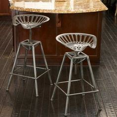 Chapman Saddle Silver Counter Stool   http://www.houzz.com/photos/6028223/Chapman-Saddle-Silver-Counter-Stool-modern-bar-stools-and-counter-stools-