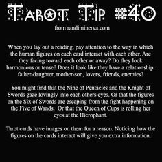 Minerva's Tarot tip number # 40- all about the human relations between cards in a reading. #tarotcards