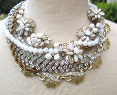 White & Gold Chunky Bridal Statement Necklace by AllThingsTinsel, $225.00
