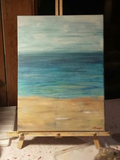 Beach Basic acrylic on canvas.  Easy and fast so you can personalize it... surf board, umbrella, birds, or sandcastle maybe? Paint nite by ashleestudio