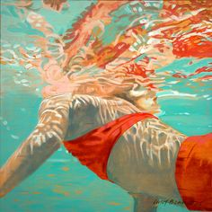Painting by Carol Bennett Carol Bennetts underwater paintings show the physical spiritual and emotional strength and beauty of swimmers heightened by the beautiful shapes and forms created by the flow of water. Portrait Art, Portraits, Carol Bennett, Tableaux D'inspiration, Art Alevel, Underwater Painting, Water Drawing, A Level Art, Underwater Photography