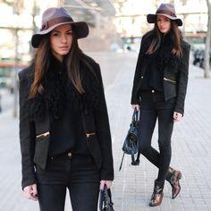 All Black and Brown #zina #fashionvibe #streetstyle #hatslooks #streetstylelooks