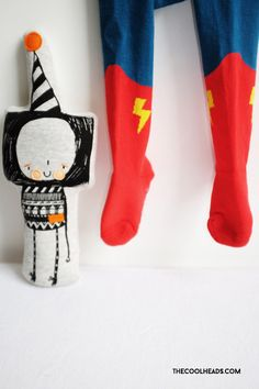 Some inspiration from us, close up... Little Titans little hero tights, the coolest! And our lovely friend Ralph Raddish by Corby Tindersticks thecoolheads.com