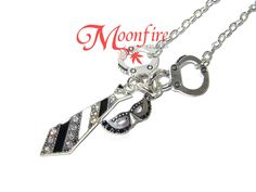 FIFTY SHADES OF GREY Handcuff, Necktie and Masquerade Mask Charm Necklace