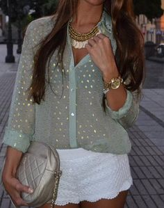 Love this outfit!  Sheer mint blouse, white scalloped shorts and statement necklace...women's street style fashion for spring summer clothing outfit