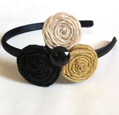 Headband with Black, Cream, and Gold Ribbon Rosettes