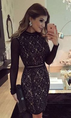 You're looking at the definitive proof that a black dress looks awesome and has tons of styling possibilities. Lace Dresses, Elegant Dresses, Pretty Dresses, Short Sleeve Dresses, Prom Dresses, Formal Dresses, Modest Fashion, Fashion Outfits, Dress Skirt