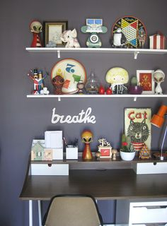 Love this idea. Old games, toys and knicknacks from the 60's and 70's. wall color, shelving