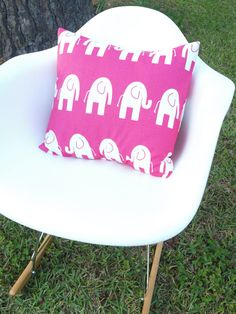 hot pink and white elephant designer pillow cover by mkmathews, $12.00
