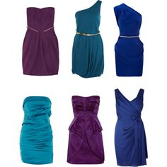 Peacock color-inspired bridesmaid dresses