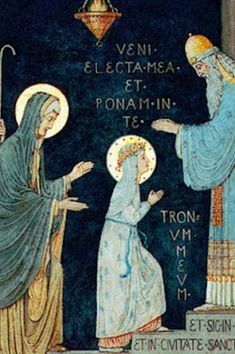 ACCORDING to a tradition, Mary. when three years of age, was prompted by the Holy Spirit to consecrate herself to God in the Temple of Jerusalem.