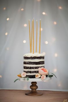 This would be the perfect bride and groom cake: http://www.stylemepretty.com/living/2015/09/15/30th-birthday-celebration-dripping-in-florals/ | Photography: Sara Weir - http://www.saraweirphoto.com/