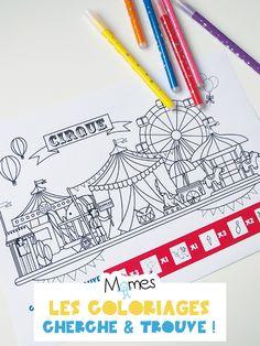 Cherchez les petits objets du cirque cachés dans l'image et coloriez ! Carnival Themes, Bullet Journal Inspiration, Journal Ideas, Art For Kids, Doodles, Activities, School, Attention, Handwriting