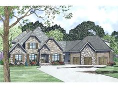 English Country Style House Plans   3752 Square Foot Home, 2 Story, 4  Bedroom And 3 3 Bath, 3 Garage Stalls By Monster House Plans   Plan