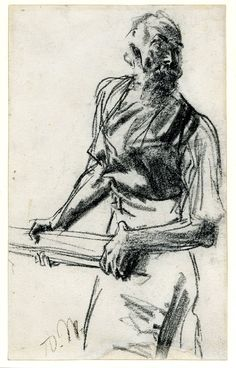 Adolph Menzel - A workman, TQL, holding the handle of a hammer (?); looking to r, wearing an apron Black chalk