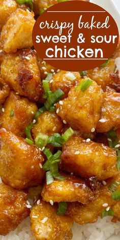 Homemade Baked Sweet & Sour Chicken is better than any take-out! Fresh and homemade with only a few ingredients. Chunks of crispy baked chicken in an easy sweet & sour sauce. Asian Chicken Recipes, Asian Recipes, Beef Recipes, Cooking Recipes, Pineapple Chicken Recipes, Kitchen Recipes, Baked Sweet And Sour Chicken Recipe, Crispy Baked Chicken, Chinese Recipes