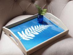 Sun print decoupage wooden serving tray tutorial by Mark Kintzel
