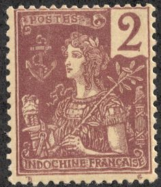 "Indochina (French Indochina) 1904-06 Scott 25 2c violet brown/buff ""France"""