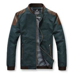 Men's Bomber Jacket with PU leather shoulder