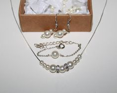 Swarovski Ivory Pearl EarringNecklace and by JewelryPISCES on Etsy