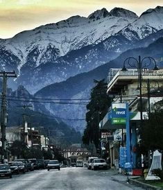 View from a street in Litochoro Greece (Mt. Olympus, Mount Everest, Greece, Mountains, Street, Nature, Travel, Greece Country, Viajes