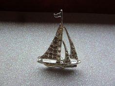 Sailboat Silver Tone Rhinestone Vintage Brooch
