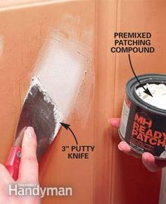 patch the dent and sand it smooth as shown in Photos 1 – 3 (deep dents may require a second coat after the first one dries). Prime the patch and repaint the entire door to hide all evidence of patching. Fix a Door That Won't Close Metal Garage Doors, Diy Garage Door, Garage Door Makeover, Metal Garages, Old Garage, Garage Door Repair, Steel Doors, Diy Door, Garage Ideas