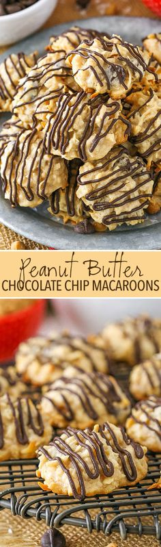 Peanut Butter Chocolate Chip Macaroons - easy to make and delicious cookies!