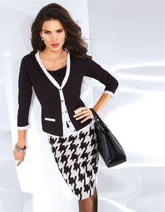Twinset, Schmaler, knielanger Rock im Hahnentrittdessin, Große Damen Business-Tasche aus echtem Leder mit Bodenfüßen