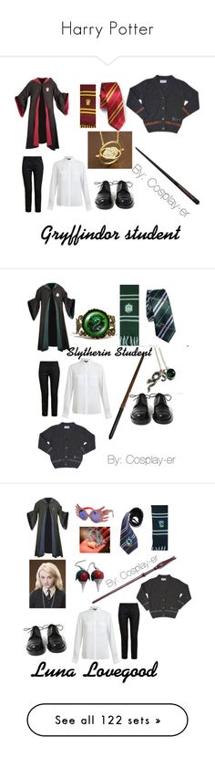 """""""Harry Potter"""" by cosplay-er ❤ liked on Polyvore featuring Achilles Ion Gabriel, Ann Demeulemeester, Vince, harrypotter, slytherin, hp, Costume, cosplay, CO and Luna"""