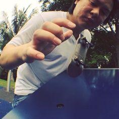 """""""#kickflip of the #day. #ambition #fingerboarding #singapore #fingerboard #store #certifiedpopcrazy #blue #sesh #oakwheels #ytrucks"""""""