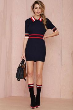 Make Varsity Ribbed Dress - Day | Body-Con | All | Clothes |: