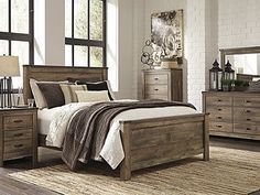 Trinell Queen Bedroom Set – Replicated oak grain takes the look of rustic reclaimed wood on this queen panel bed. The modern farmhouse style is at home in the master or guest bedroom. Trinell Queen Bedroom S Rustic Master Bedroom, King Bedroom Sets, Bedroom Decor, Master Bedrooms, Rustic Bedroom Sets, Modern Bedroom, Cozy Bedroom, Girls Bedroom, Rustic Bedding Sets